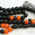 Islamic Prayer Beads Tesbih Vintage Yusr & Orange Coral w Sterling Silver