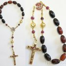 Catholic One Decade Rosary Chaplet - Black Agate, Ruby, Enamel and Vermeil