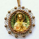 Vintage 18 K Gold Plique-à-Jour Virgin Mary & Child Pendant Medal 1923 w Chain