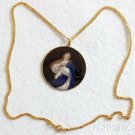 Late XIXth Cent Hand Painted High Relief Enamel Lady Mary Medal w 18K Gold Frame