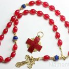 5 Way Wearable Beaded Chotki Komboskini Rosary w Rubillite Sapphires & 2 Crosses