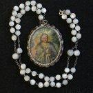 19th Cent Cuzco School 2 sided Oil Miniature Medal w MOP Rosary Chain XXXX Rare