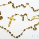 Catholic Vintage Rosary New Old Stock Cognac Amber Crystal Exquisite Series No16