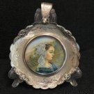 1930's Fine Miniature Hand Painting Virgin Mary in Sterling Silver Frame  Italy
