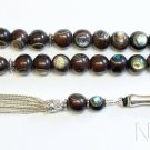 Tesbih Prayer Beads Komboloi Ebony inlaid with Paua Shell Unique Collector's XXR