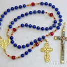 Catholic Rosary Sapphire Vermeil MicroMosaic Wearable 9 Uses 2 crosses  UNIQUE