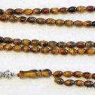 Islamic Prayer Beads Gebetskette 99 Oval Tiger Eye & Sterling Silver