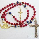 Catholic Rosary Ruby, Vermeil & Micro Mosaic, Wearable, 9 Uses, 2 crosses UNIQUE
