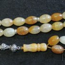 Prayer Beads Tesbih Large Oval Agate with Amber Color & Sterling - Very Unusual