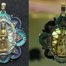 18K Bicolor Gold High Relief Plique-à-Jour Pendant w Diamonds Lady of Montserrat