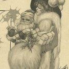 Christmas Greetings 1913 Santa Claus and Lady Postcard