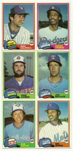1981 Topps Baseball Uncut Sheet MIKE CALDWELL RAY BURRIS