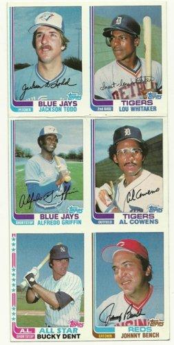 1982 Topps Baseball Uncut Sheet JOHNNY BENCH BUCKY DENT