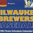 1984 Burger King Schedule Calendar Milwaukee Brewers