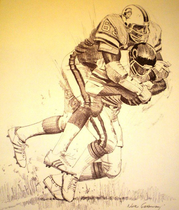 Lee Roy Selmon Tampa Bay Buccaneers Shell Oil Drawing NFL 1981