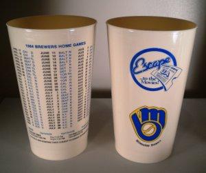 (2) Milwaukee Brewers 1984 Schedule Cups United Artist Theatre