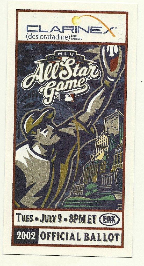 2002 MLB All Star Game Ballot Baseball Card Major League Baseball