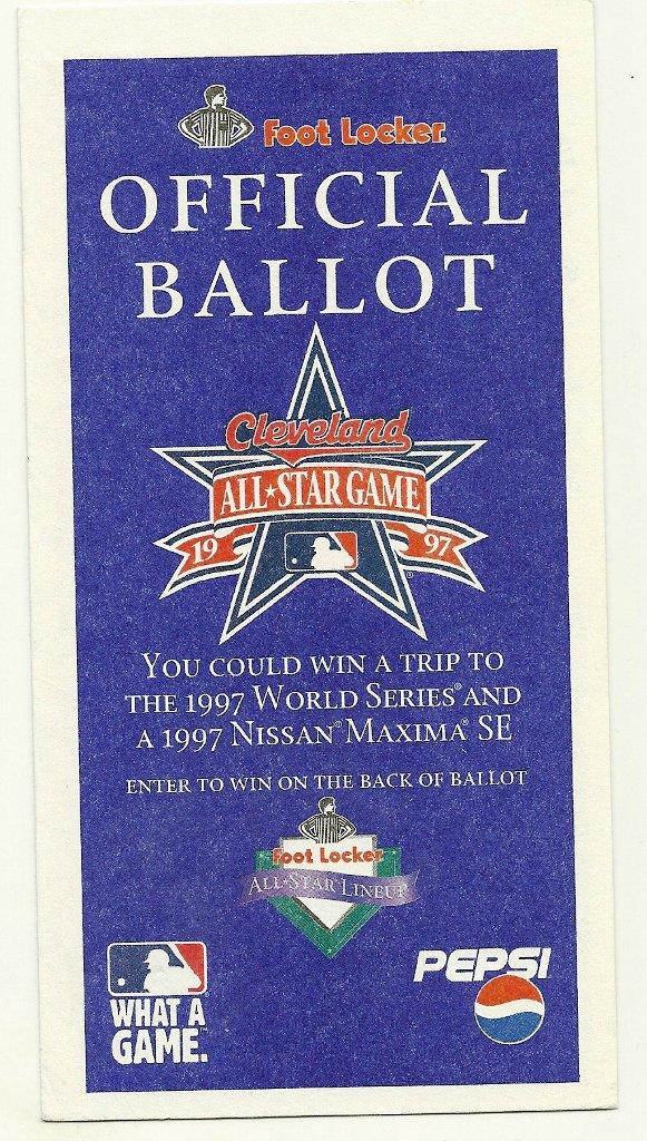 1997 MLB All Star Game Ballot Baseball Card Major League Baseball