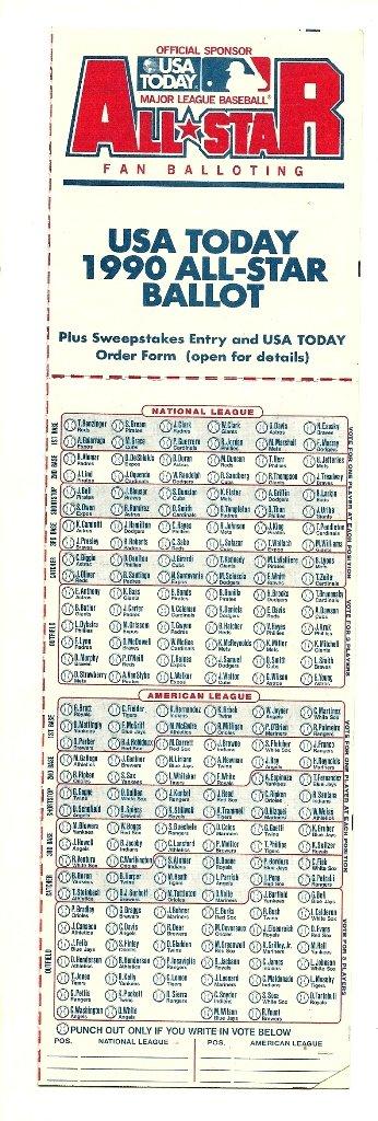 1990 MLB All Star Game Ballot Baseball Card Major League Baseball