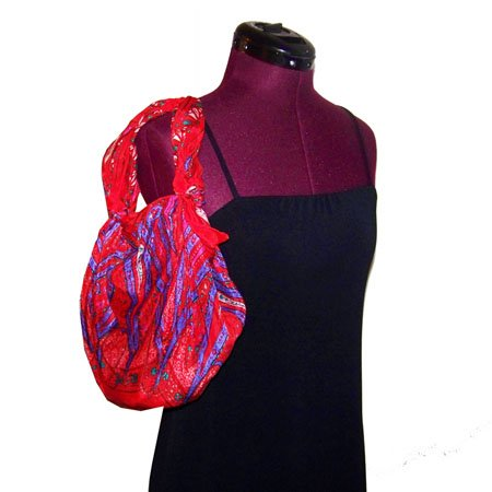Handmade Vintage Silk Purple and Red Purse- Purple Ribbins Handbag