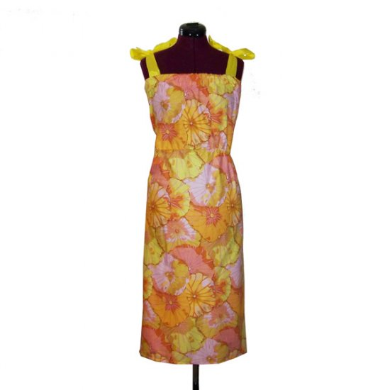 YELLOW WITH ENVY COTTON DRESS - WOMEN'S LIGHT FLORAL DRESS