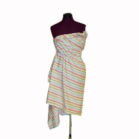 RAINBOW BRIGHT DRESS OF RED WHITE AND YELLOW DESIGN FOR