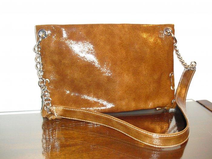 Rusty Brown Patent Leather clutch handbag