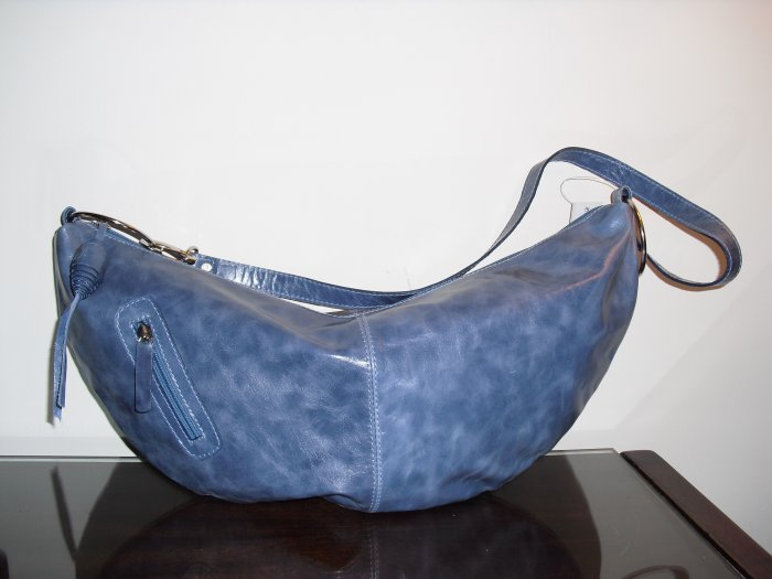 Sky Blue Leather Banana Hobo crossbody Handbag