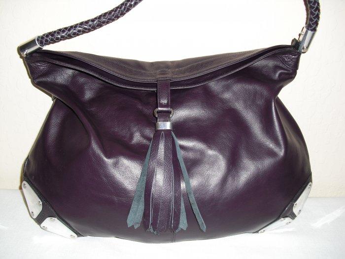 Purple Hobo Leather Handbag with metalic details