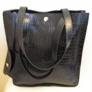 SofiSmart- Black Croco embossed leather Tote