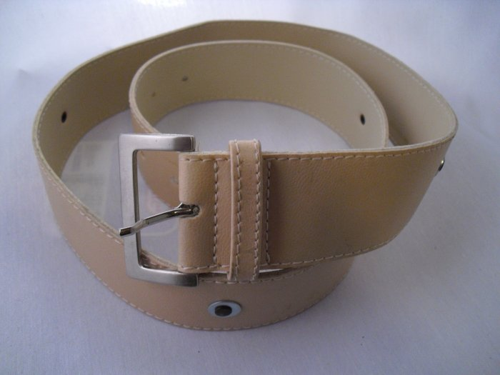 Tan leather belt with eyelets