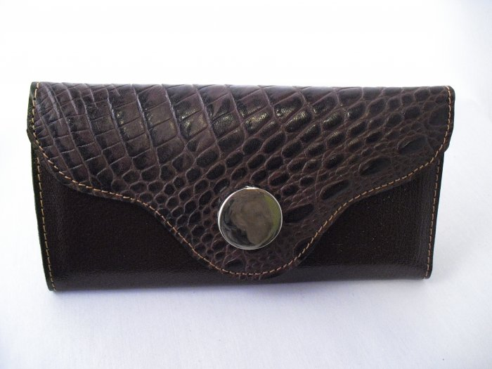 Dark Brown Leather Wallet  with croco detail