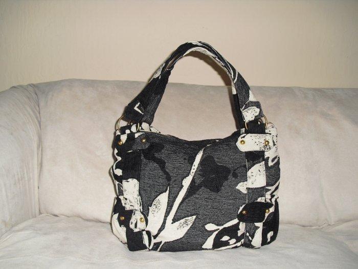 Black & Ivory Chenille Bag