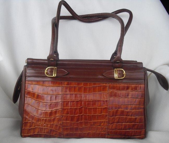 Argentina Brown leather croco embossed Handbag