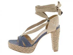 Stuart Weitzman Size 9.5 Womans Espadrille Shoes Bandana Navy Jeans Lace up Platform Heels NIB
