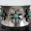 Turquoise Bracelet Cuff Southwestern Stone Silver Floral Flower Bangle