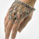 Chain Bracelet & Ring Antique Silver Multi Color Rhinestones Crystals Size OSFA