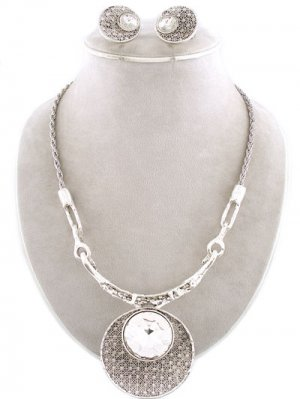 Circle Statement Necklace & Earrings Set Goddess Crystal Silver Mesh Ring