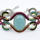 Turquoise & Crystal Beaded Bracelet Stone Beads Oval Silver Cuff Pink