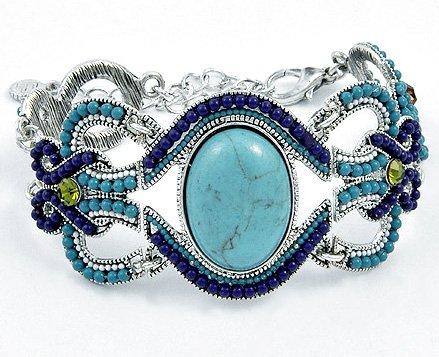 Turquoise & Crystal Bracelet Stone Beads Oval Silver Cuff Art Purple Green