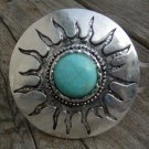 Western Sun Turquoise Bracelet Hinge Chunky Natural Stone Art Silver Bangle Cuff
