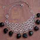 Black Skull Howlite Ex-Boyfriend Bib Circle Necklace Silver Dangle Charms Handcrafted