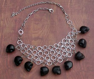 Black Skull Howlite Ex-Boyfriend Bib Circle Necklace Silver Dangle Charms Handcrafted