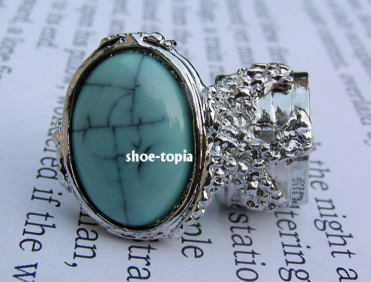 Arty Oval Turquoise Blue Ring Silver Knuckle Art Armor Statement Cage Deco Style Size 6
