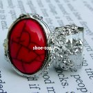 Arty Oval Red Ring Armor Silver Knuckle Chunky Art Cabochon Statement Cage Deco Style Size 6