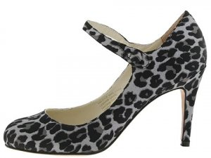 Type Z Womans Size 7.5 8 Shoes Strappy Pumps Heels Leopard Animal Print Satin Leather Black Silver