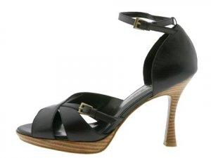 Gabriella Rocha Womans Size 9 Shoes Black Leather Dressy Heels Dance Pump Peep Toe Ankle Strap NIB