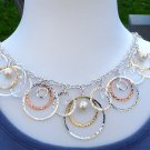 Circle Rings Necklace and Earrings Set Silver Gold Copper Pearl Style Beads Ring Charm Chain