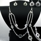 Circles Necklace and Earrings Set Snake Chain Silver Filigree Ring Charm Set