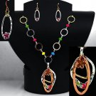 Flower & Beaded Necklace and Earrings Set Beads Silver Gold Copper Chain Charm